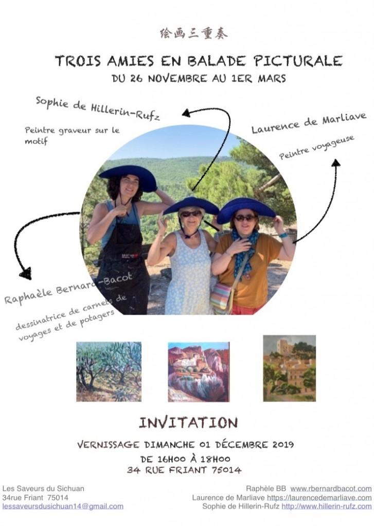 Affiche exposition Trois amies en balade picturale au restaurant Saveurs du Sichuan à Paris